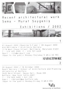 Recent architectural work, Exhibitions 2002